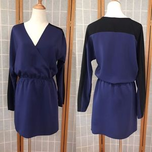 Parker Blue Black Silk Dress Long Sleeves Large